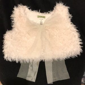 Faux Fur vest with tulle ribbon tie
